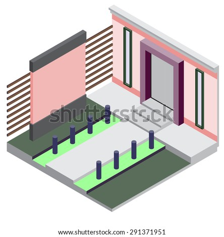 illustration of exterior room concept in isometric graphic