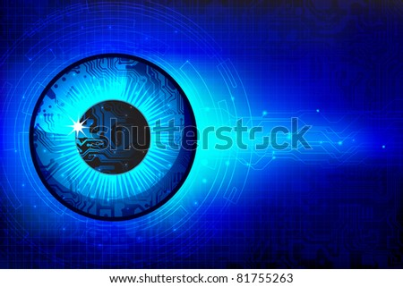 illustration of eye in technological background - stock vector