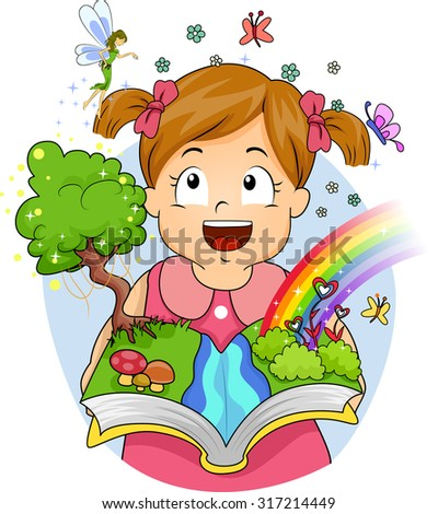 Illustration of Fairies and Butterflies Appearing After a Little Girl Opens Her Book - stock vector