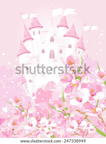 Illustration of fairytale castle - stock vector