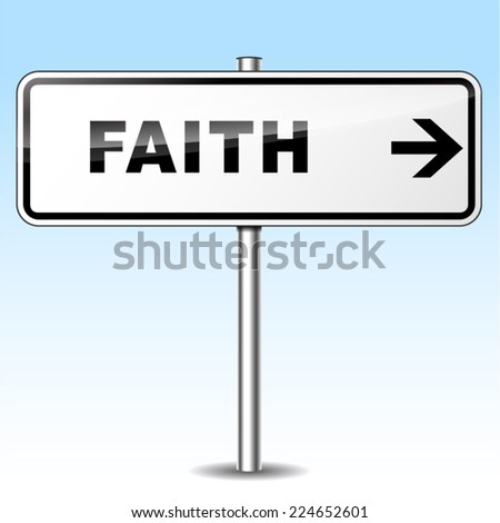 Illustration of faith sign on sky background - stock vector