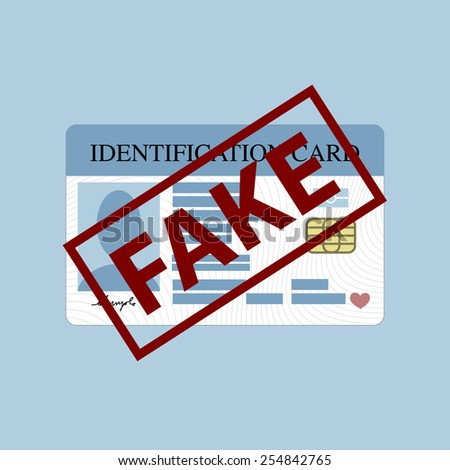 Illustration of fake stamp over id card - stock vector