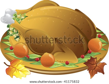 Illustration of fall leaves and a roasted stuffed turkey - stock vector