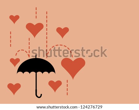 Illustration of falling heart to an umbrella