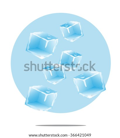 Illustration of falling ice cubes with light blue background - stock vector