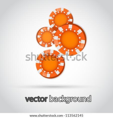 Illustration of Falling Orange Poker Chips Isolated on White - stock vector