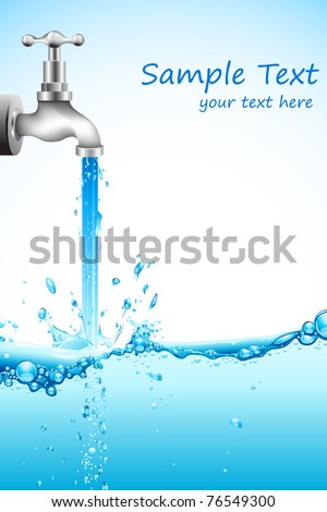 illustration of falling water from tap on abstract background - stock vector