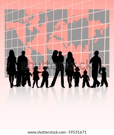 Illustration of families and map - stock vector
