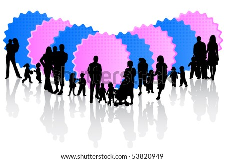 Illustration of families and stickers