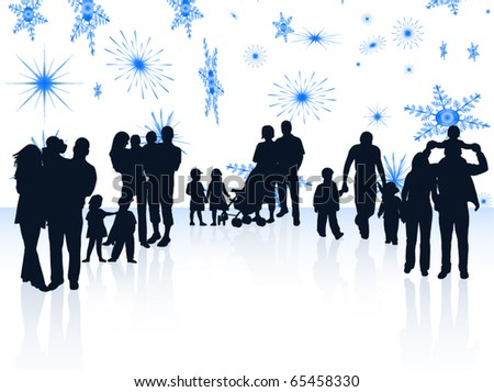 Illustration of family and snowflakes - stock vector