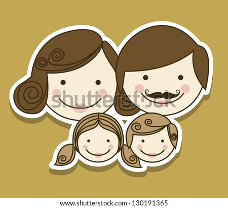 Illustration of family with kids, wedding icons, vector illustration - stock vector