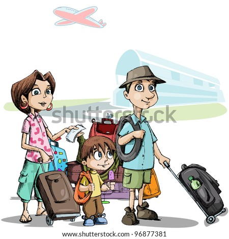 illustration of family with luggage standing in airport - stock vector