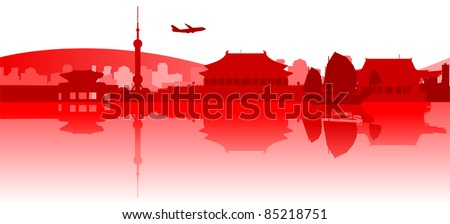 Illustration of famous buildings and monuments in East Asia - stock vector