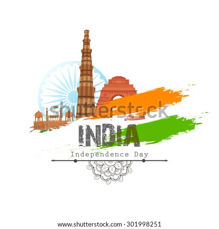 Illustration of famous Indian monuments with national flag colors on shiny background for Independence Day celebration. - stock vector