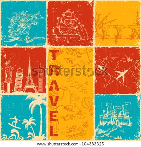 illustration of famous monument in travel collage background - stock vector