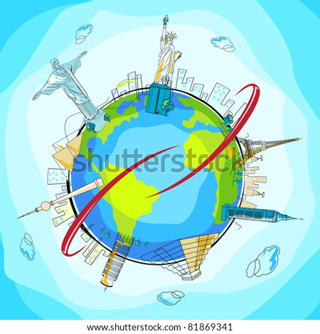 illustration of famous monuments around the world showing world travel - stock vector