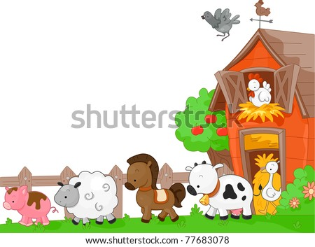 Illustration of Farm Animals walking to the left - stock vector