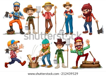 Illustration of farmers and lumberjacks - stock vector