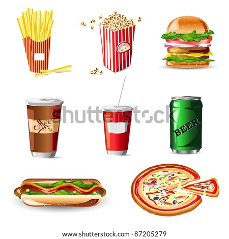 illustration of fast food on white background