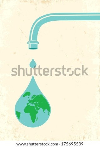 Illustration of faucets and drops - stock vector