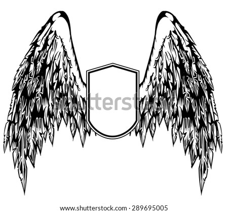 Illustration of feathered wings on a shield - stock vector