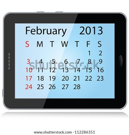illustration of february 2013 calendar framed in a tablet pc. - stock vector