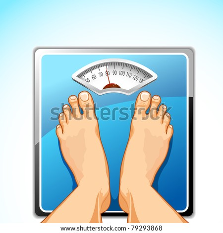 illustration of feet on weighing machine on abstract background