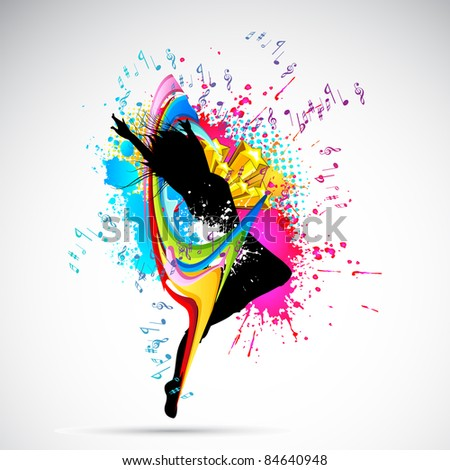 illustration of female dancing on abstract grungy background - stock vector