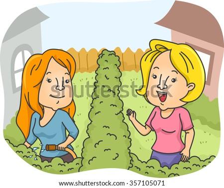Illustration of Female Neighbors Greeting Each Other - stock vector