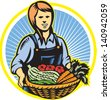 Illustration of female organic farmer with basket of crop produce harvest fruits vegetables facing front set inside circle done in retro wpa woodcut style. - stock vector