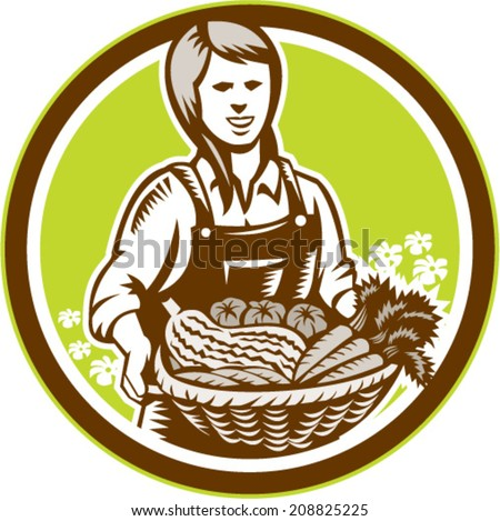 Illustration of female organic farmer with basket of crop produce harvest fruits vegetables facing front set inside circle done in retro woodcut style. - stock vector