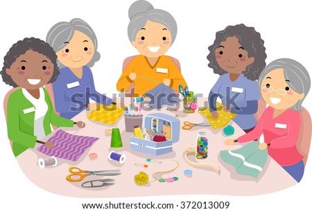 Illustration of Female Senior Citizens Enjoying their Sewing Hobby - stock vector