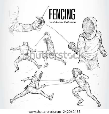 illustration of Fencing. Hand drawn.  - stock vector