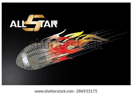 illustration of fiery Rugby balls  in abstract background - stock vector