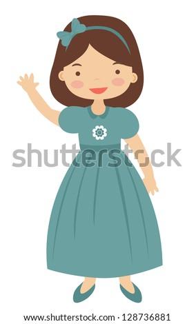 Illustration of fifties style little girl - stock vector