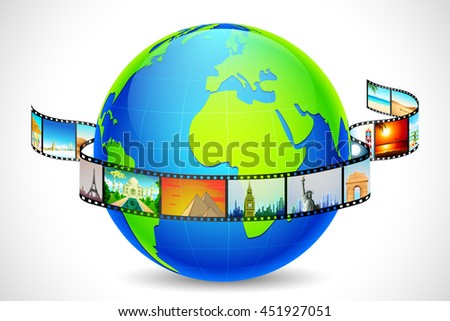 illustration of film reel of world famous monument and travel destination like with Statue of Lliberty, Eiffel Tower, Taj Mahal around globe - stock vector