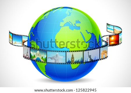 illustration of film reel of world famous monuments around globe - stock vector