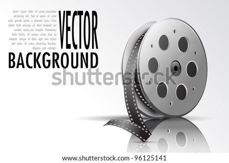 illustration of film reel on abstract background - stock vector