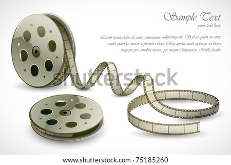 illustration of film reels on abstract background - stock vector