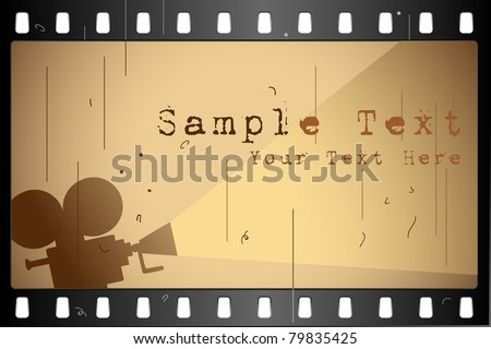 illustration of film strip frame on abstract background - stock vector