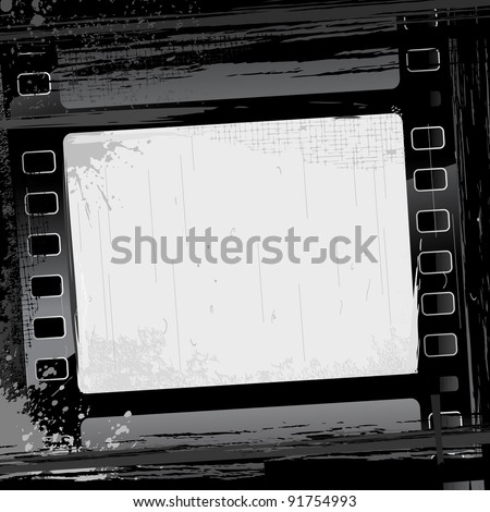 illustration of film strip frame on abstract grungy background - stock vector