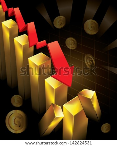 Illustration of financial graphs and Gold bar crashing to the floor - stock vector
