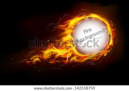 illustration of fire flame in circular frame with musical notes - stock vector