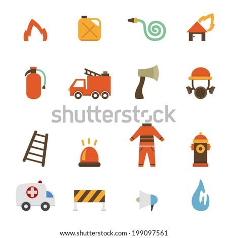 illustration of fireman icons.vector eps10 - stock vector