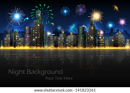 illustration of firework in night view of city - stock vector