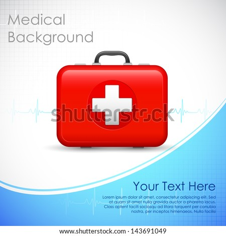 illustration of first aid box on medical background - stock vector