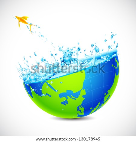 illustration of fish jumping form globe filled with water splash - stock vector
