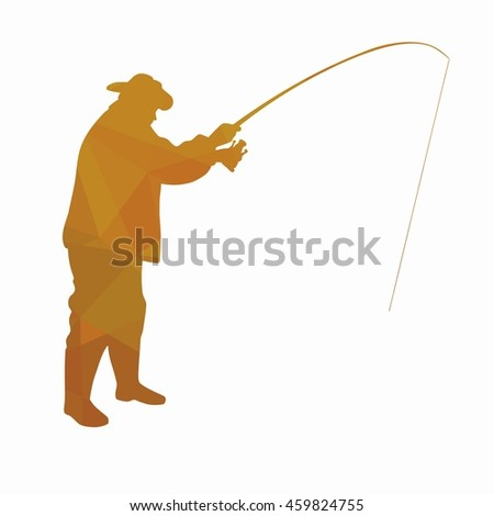 illustration of fisherman. color triangles drawing, white background