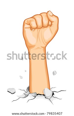 illustration of fist coming out of cracked ground - stock vector