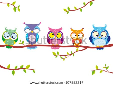 illustration of five different funny owls sitting on a branch - stock vector